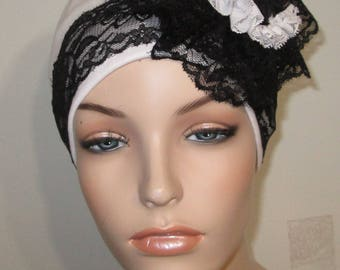 White Flapper Hat Chemo Hat Roaring 20s Hat Alopecia Hijab Cancer Hat