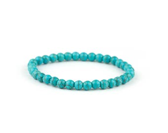 Green Turquoise Bracelet/ Turquoise Bead Bracelet/ Teal Gemstone Bracelet/ Turquoise Statement Jewelry