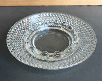 Vintage Clear Glass Ashtray Diamond and Star Design Pressed Glass Bowl Dish Smoking Accessory