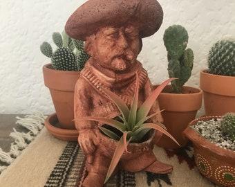 Vintage Mexican Bandito Planter Succulents Cactus Ashtray