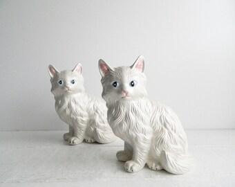 Vintage Ceramic Persian Cat Figurines - Pair of 2 - White Kittens