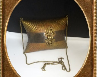 Vintage Brass and Copper Pillow Style Metal Purse