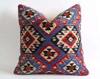 kilim pillow cover 20x20 inch, decorative pillow, pillow, kilim rug pillow, turkish pillow, rug pillow, cushion cover, bohemian pillow