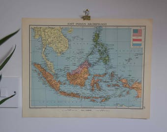 Vintage world scratch map etsy vintage map of east indian archipelago and africa two sided gumiabroncs Image collections
