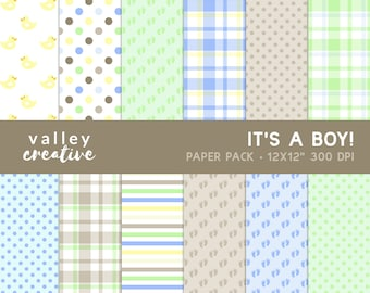 It's a Boy - Baby Shower - Digital Scrapbook Paper Set - 300 DPI - Instant Download