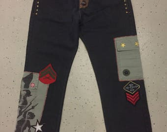 Mens Military Themed Jeans HandSewn and patched Size W36 x L30