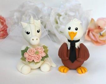 Wedding cake topper, Eagle and Unicorn custom cake topper, American Bald Eagle wedding cake topper, bride and groom, wedding keepsake
