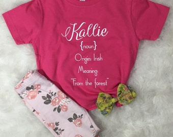 "What's In a Name? Toddler Custom Personalized Name Definition Tee ""Kallie"""