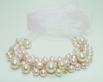 Ivory & Pink Pearl Necklace, Blush and Pearl Cluster Necklace, Soft Pink and Cream Chunky Necklace, Pink and Ivory Jewelry, FREE SHIPPING
