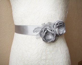 Gray Sash, Bridal Belt, Bridesmaid Dress Belt,  Floral Wedding Accessory, Gray Wedding, Melisa