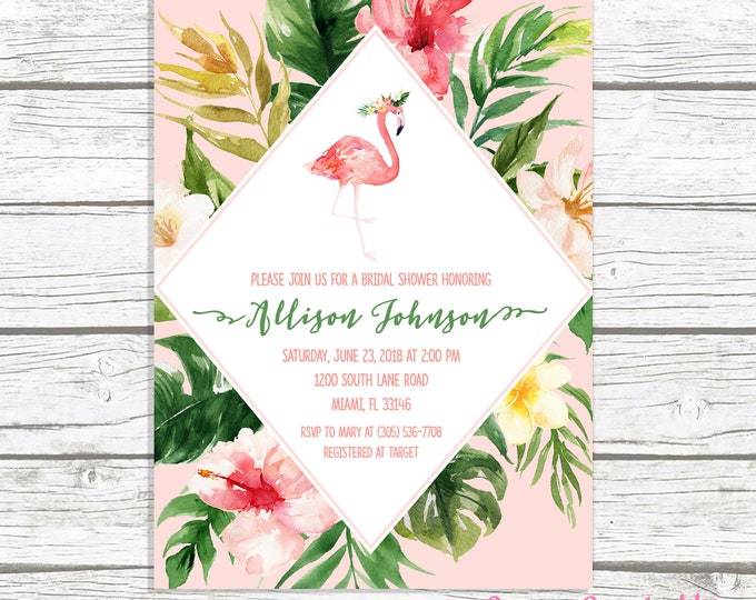 Flamingo Bridal Shower Invitation, Flamingo Invitation, Flamingle Bridal Shower Invitation, Tropical Bridal Shower Invite, Let's Flamingle