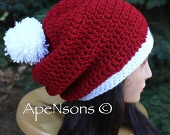Women's Crochet Modern Slouchy Red & White Santa Hat