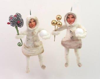 READY TO SHIP Spun Cotton Vintage Style Eskimo Child Ornament