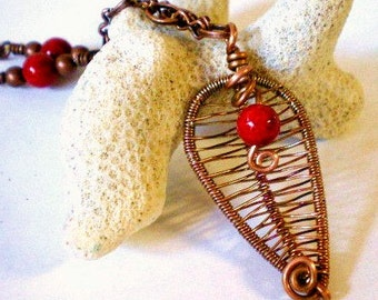 Copper Leaf Pendant, Wire Woven Pendant, Copper Leaf Necklace, Red Coral Beads and Copper Chain Necklace, Copper Leaf Necklace