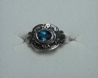 Solid Sterling Silver London Blue CZ Ring  7 1/2