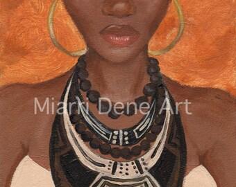 BAHIYA, African American woman, black art, african american art print by Miarri dene