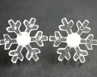 Clear Snowflake Earrings. Winter Earrings. Acrylic Snow Flake Earrings. Silver Post Earrings. Snow Earrings. Winter Jewelry.