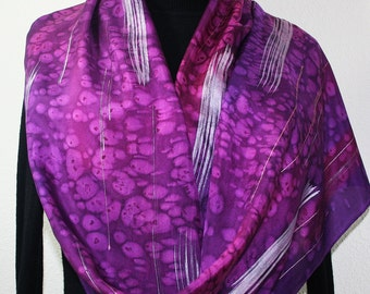 Purple Silk Scarf, Handpainted Silk Shawl, Handmade Silk Wrap PURPLE FIREWORKS, Large 14x72, Birthday Gift, Mother's Day