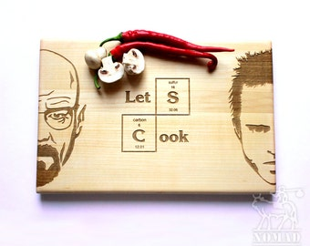 Breaking Bad Cutting Board, Let's Cook, Jesse Pinkman, Heisenberg Engraved, Walter White, Custom Engraved, Gift for him, Christmas gifts