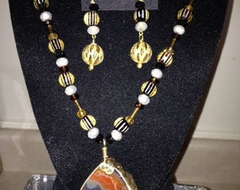 Amber & Grey Agate Pendant with Grey Crystals and Multi-Colored Glass Beaded Necklace
