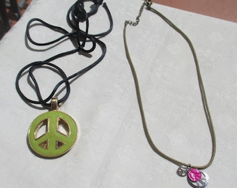 Retro Peace Sign Rope Necklaces One Marked Berebi
