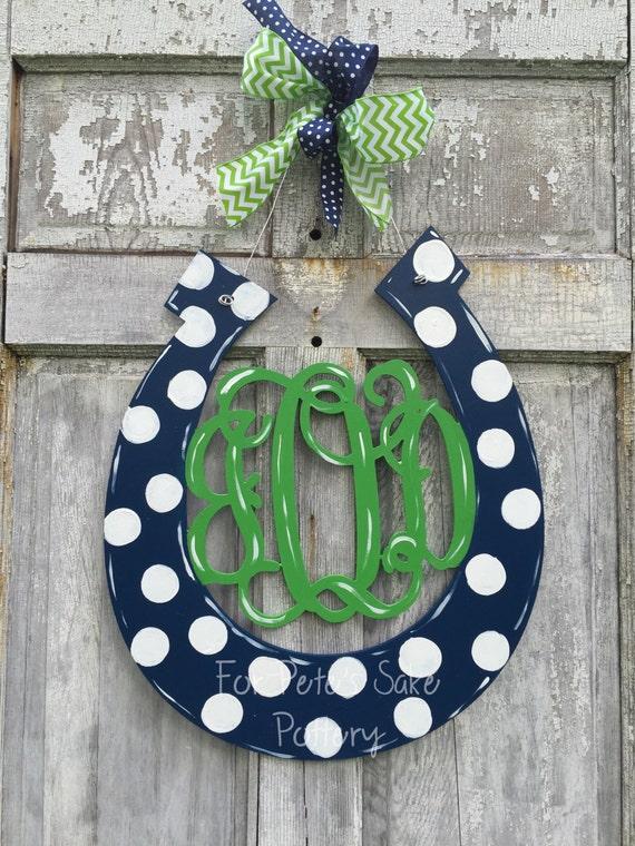 Monogramed horseshoe door hanger, derby door hanger, equestrian door hanger, monogrammed barn sign or wall hanger