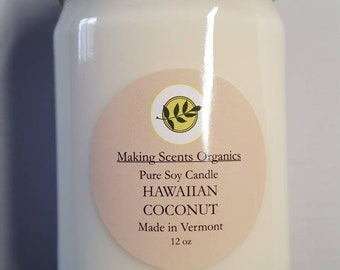Making Scents Organics HAWAIIAN COCONUT  Soy Candle Made in Vermont with High Quality Oils.