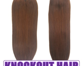 "Fits like a Halo Hair Extensions 20"" Chocolate Brown (#4) - Human No Clip In Flip In Couture by Knockout Hair"
