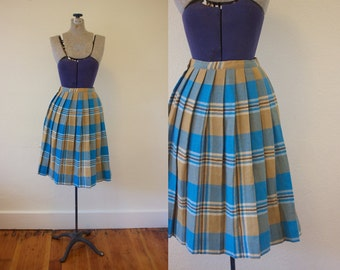 1950s Plaid Wool Skirt // 50s Fall Skirt // Autumn Skirt // 1950s Skirt