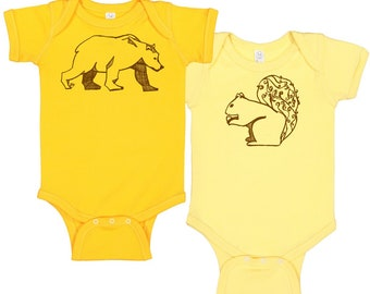 Woodland Animals Baby Gift Clothing Gift Set,  Baby Onepiece, Walking Bear Baby Bodysuit Baby Shower Gift Squirrel Hand Printed Baby Clothes