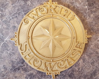 World Showcase Medallion Inspired Sign / Plaque Prop Replica ( Disney Epcot Prop Inspired Replica )