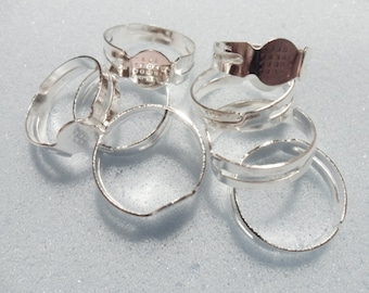 8 adjustable ring blanks - silver plated ring blanks - 8mm ring pad - 17mm diameter - silver plated adjustable ring blank
