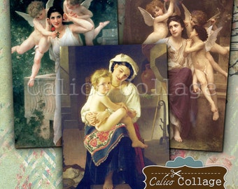 Bouguereau Images, Collage Sheet, Classic Art, Digital Download, Printable Paper, 2x3 Collage Sheet, Decoupage Paper, Journal Spot