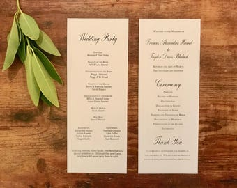 Copperplate Wedding Program