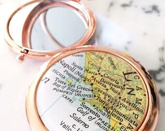 Amalfi Coast Map Mirror Compact - Positano - Compact Mirror - Makeup Mirror - Purse Mirror - Bridesmaid Gift - Destination Wedding