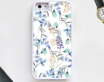 Watercolor garden nature design white blue green Cell Phone Case protective bumper cover iPhone6 iPhone7 Android s5 s6 s7 note4 note85