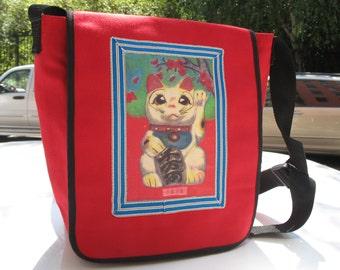 Japanese Good Luck Kitty Canvas Messenger Bag, Red Canvas Courier Daybag, Maneki- Neko Shoulder Bookbag