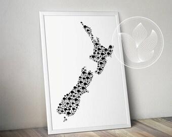 Digital New Zealand kiwi bird map jpg, png, eps, svg, dxf, pdf, New Zealand wall art, New Zealand shape with kiwi birds, Map with symbol