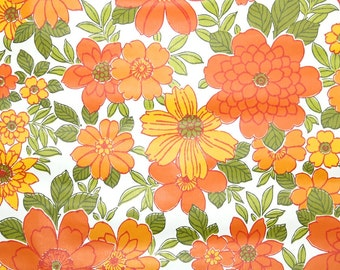 Retro Wallpaper by the Yard 70s Vintage Wallpaper - 1970s Yellow and Orange Flowers
