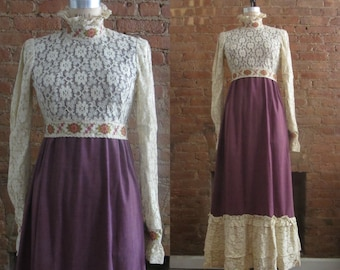 1960s romantic floral lace maxi dress   60's Boho Hippie Folk   M   In a Field of Daisies