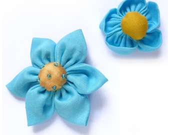 set of 2 kanzashi flower and round 5.5 and 3.5 cm light blue and yellow - set no. 160707014