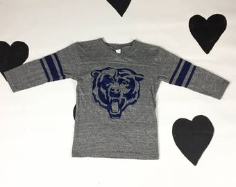 70s / 80s Chicago Bears Soft Grey Jersey Top / Stripes / Cotton / Blue and Grey / Worn / Thin / Soft / Vintage Tee / Sporty / Small / 1980s