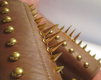 1 pair Dragon Spine spiked tan leather gauntlets men's size