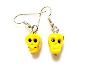 OOAK Polymer clay earrings, Sugar skull earrings, day of the dead earrings, sugar skull couple, handmade sugar skulls, yellow skull earrings