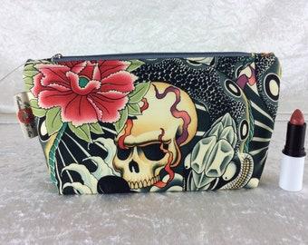 Gothic Skulls Snakes Zipper case zip pouch fabric bag pencil case purse pouch Alexander Henry Zen Charmer