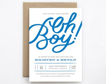 Baby Shower Invitation - Oh Boy! - Hand Lettering