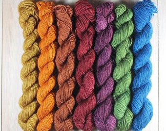 Mini skeins of hand dyed - Fingering - Sw Merino and Sw Merino and Nylon - 7 of 20 g and 80 m Minis-