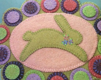 Spring Bunny Penny Rug Wool Kit and Pattern