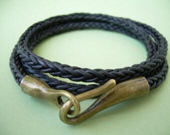 Black Leather Bracelet, Hook Clasp Bracelet, Mens Bracelets Leather, Womens Bracelet, Mens Jewelry, Womens Jewelry, Mens Gift, Groomsmen