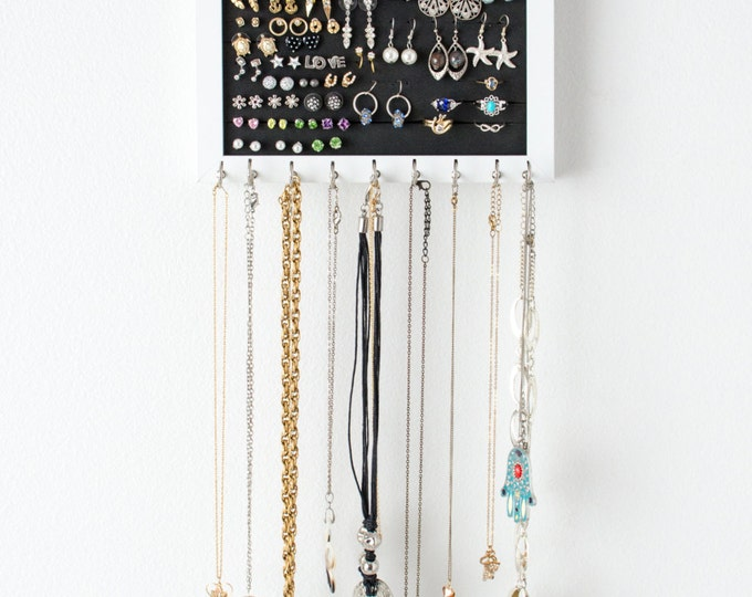 Hanging Earring Organizer - 8x10 White Frame - Foam - Necklaces Hooks